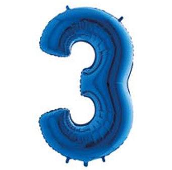 "Palloni Megaloon numbers ""3"" Blue"